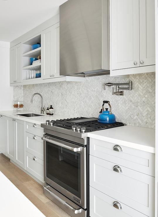 small herringbone kitchen backsplash