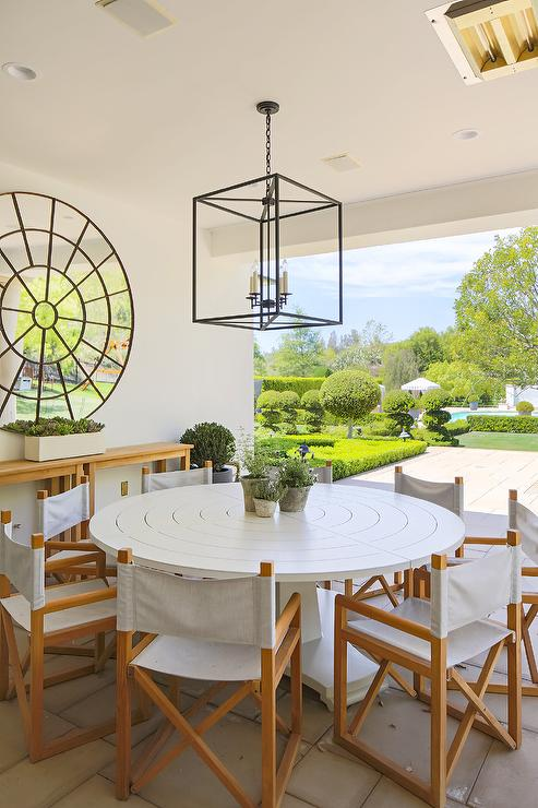 round white outdoor table with folding