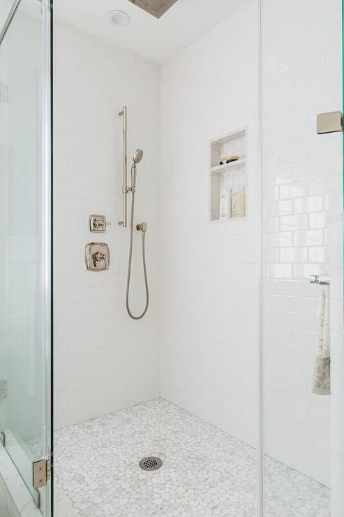 white and gray river rock shower floor