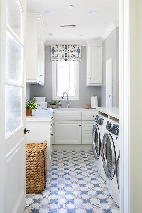 blue mosaic laundry room floor tiles