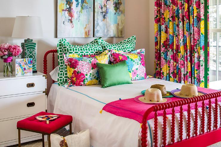 zola pink floral cotton pillow shams set