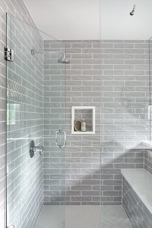 glossy gray shower wall tiles with