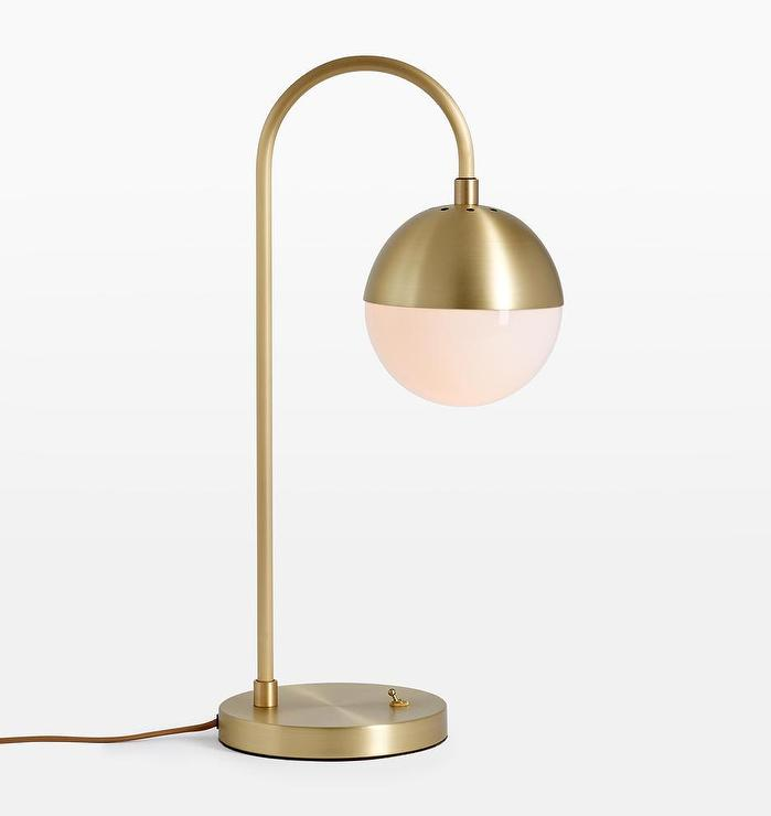 cedar moss arched brass globe table lamp