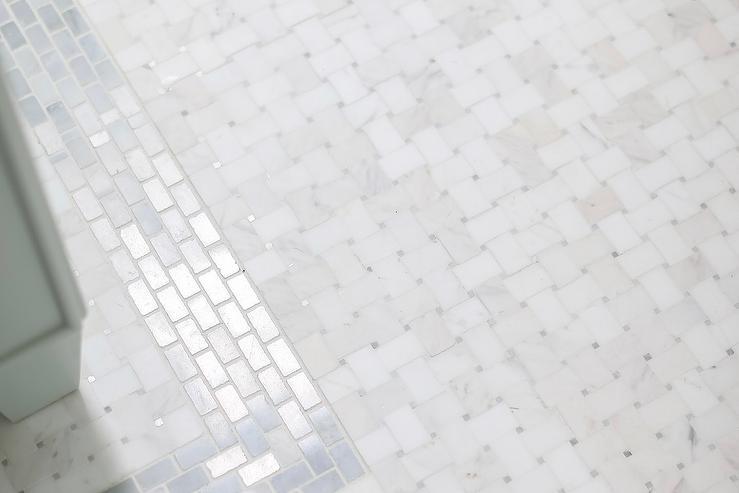 white marble basketweave bath floor