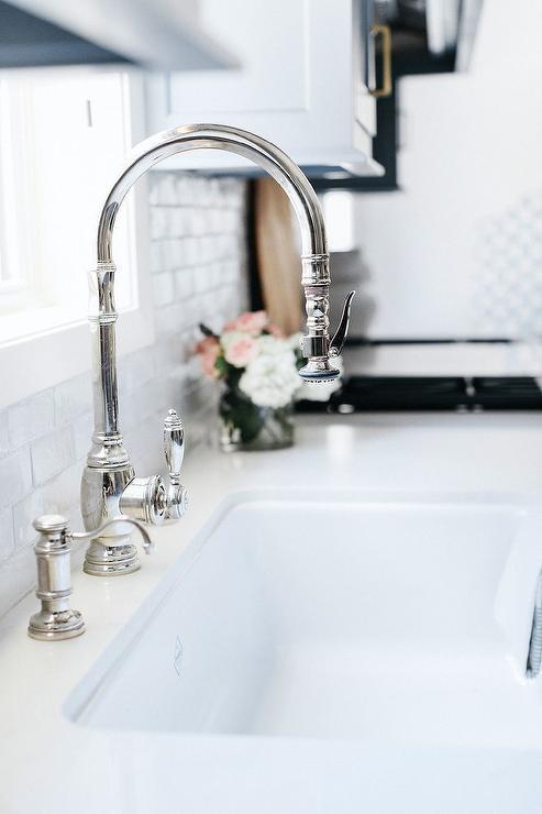 chrome gooseneck faucet at shaw sink