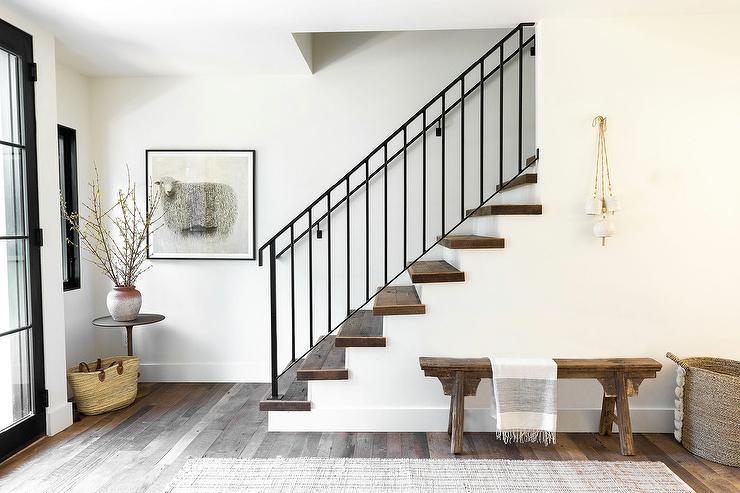 Sleek Modern Wrought Iron Staircase Transitional Entrance Foyer | Contemporary Wrought Iron Railings | Victorian | Stainless Steel | Glass | Wood | Decorative
