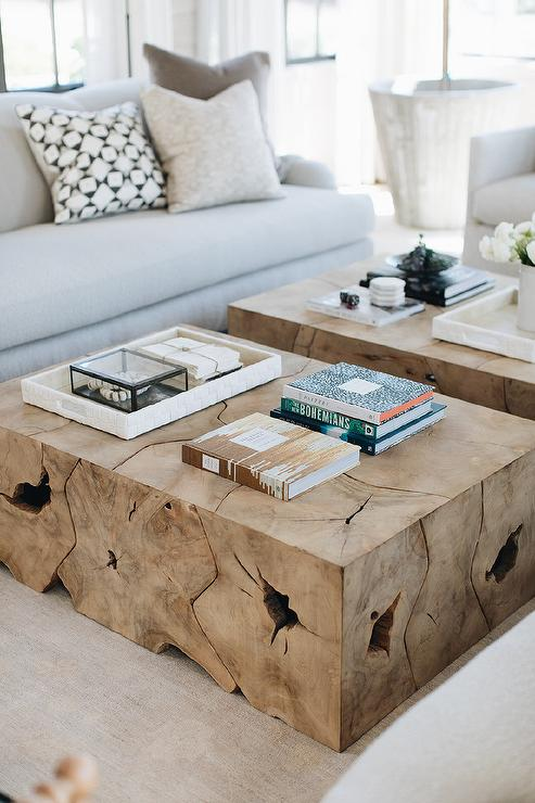 side by side burl wood coffee tables