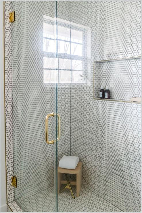 white hexagon shower wall tiles with