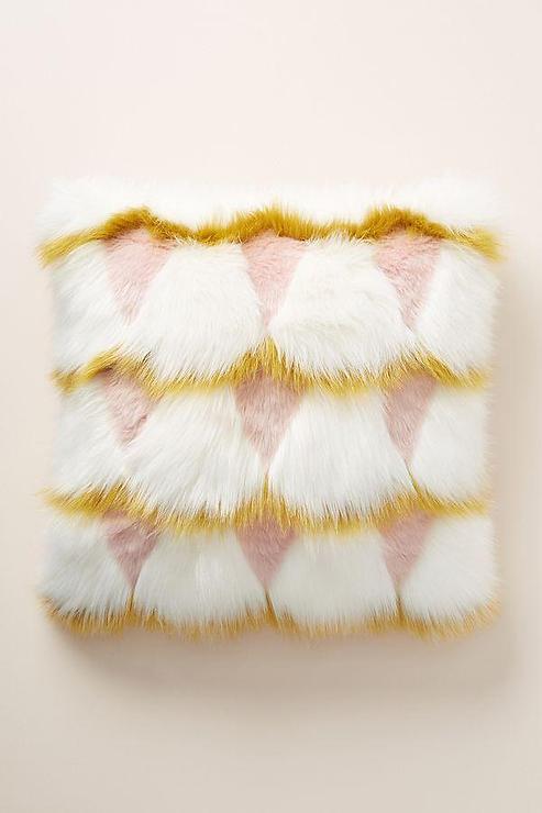 coren geometric yellow blush faux fur