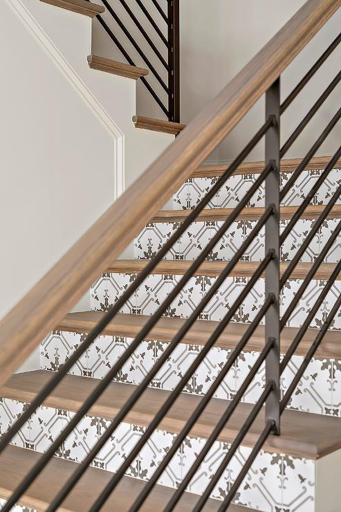 White And Gray Mosaic Tile Son Staircase Risers Transitional | Wood Stairs With Tile Risers | Color Scheme | Creative | Stair Outdoors | Grey | Tile Residential