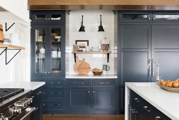 Dark Blue Kitchen Cabinets With Cottage Kitchen