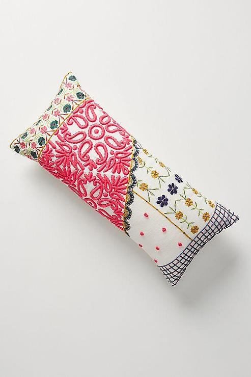 lizzie embroidered floral pink lumbar
