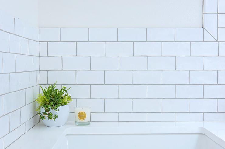 light gray grout on white subway tiles