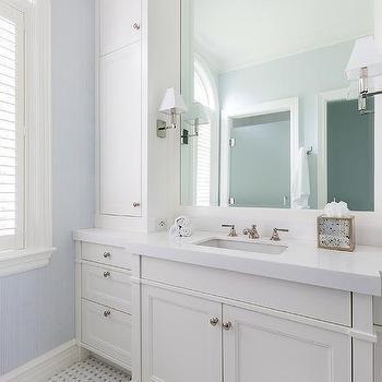 White Quartz Bath Vanity Countertop Design Ideas