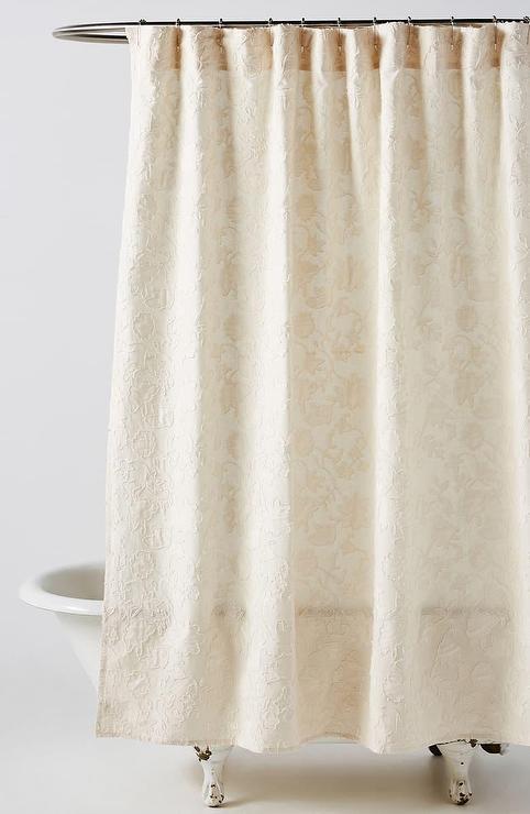 emelia cream floral shower curtain
