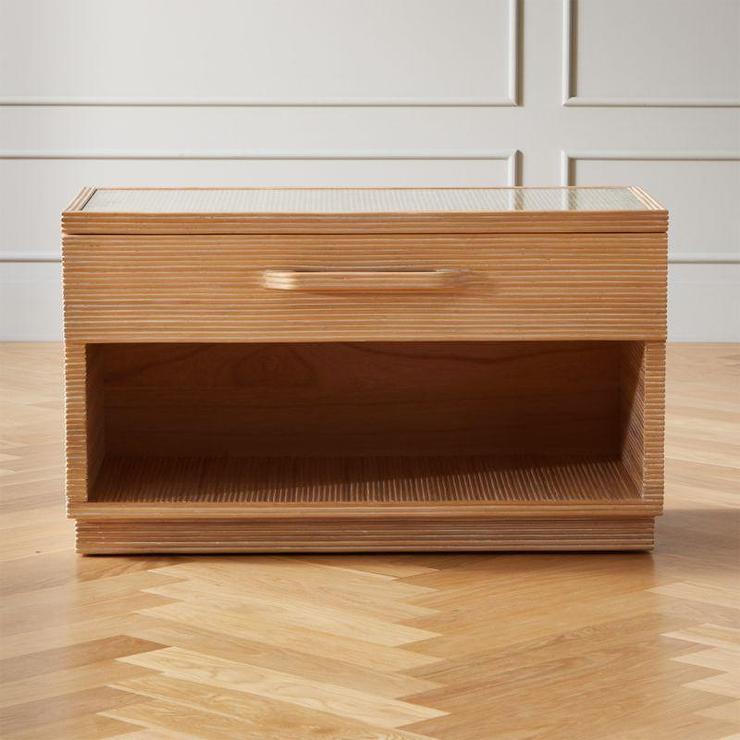 gela bleached rattan wide nightstand