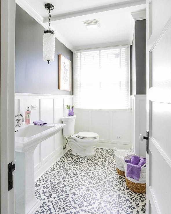 white flocked tiles on bathroom floor