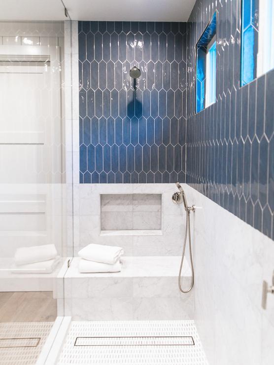 slate blue picket tiles on shower walls