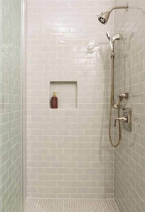 white penny tiles with gray grout