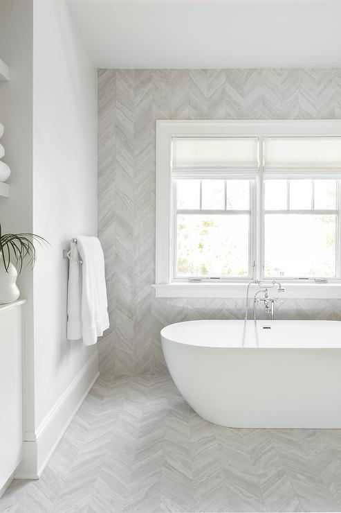 bathtub nook with gray chevron wall and