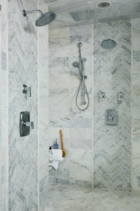 herringbone shower tiles design ideas