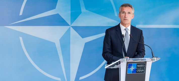 With ISIS threatening Turkey, NATO Secretary General Jens Stoltenberg after an emergency meeting of the North Atlantic Council Meeting at NATO headquarters, Brussels, July 28, 2015.