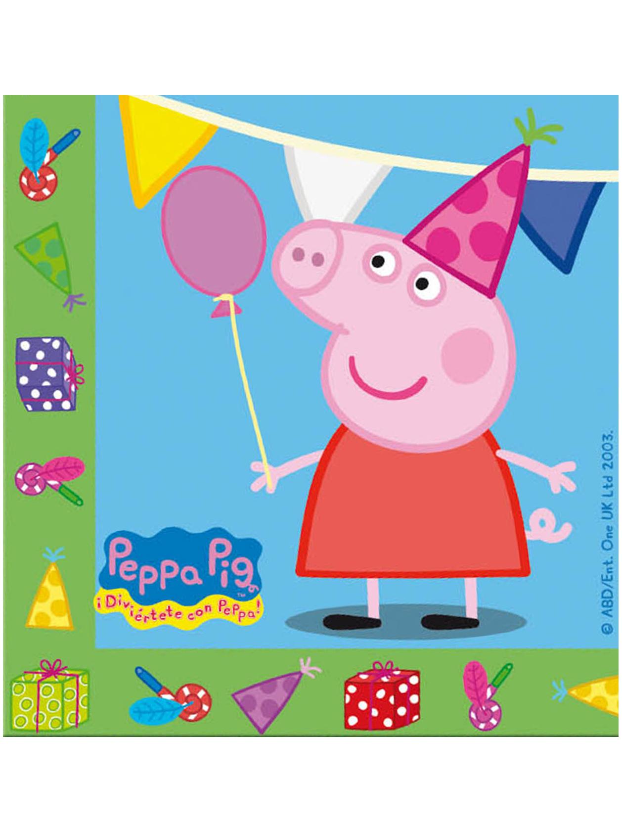 20 Serviettes en papier anniversaire Peppa Pig 33 x 33 cm
