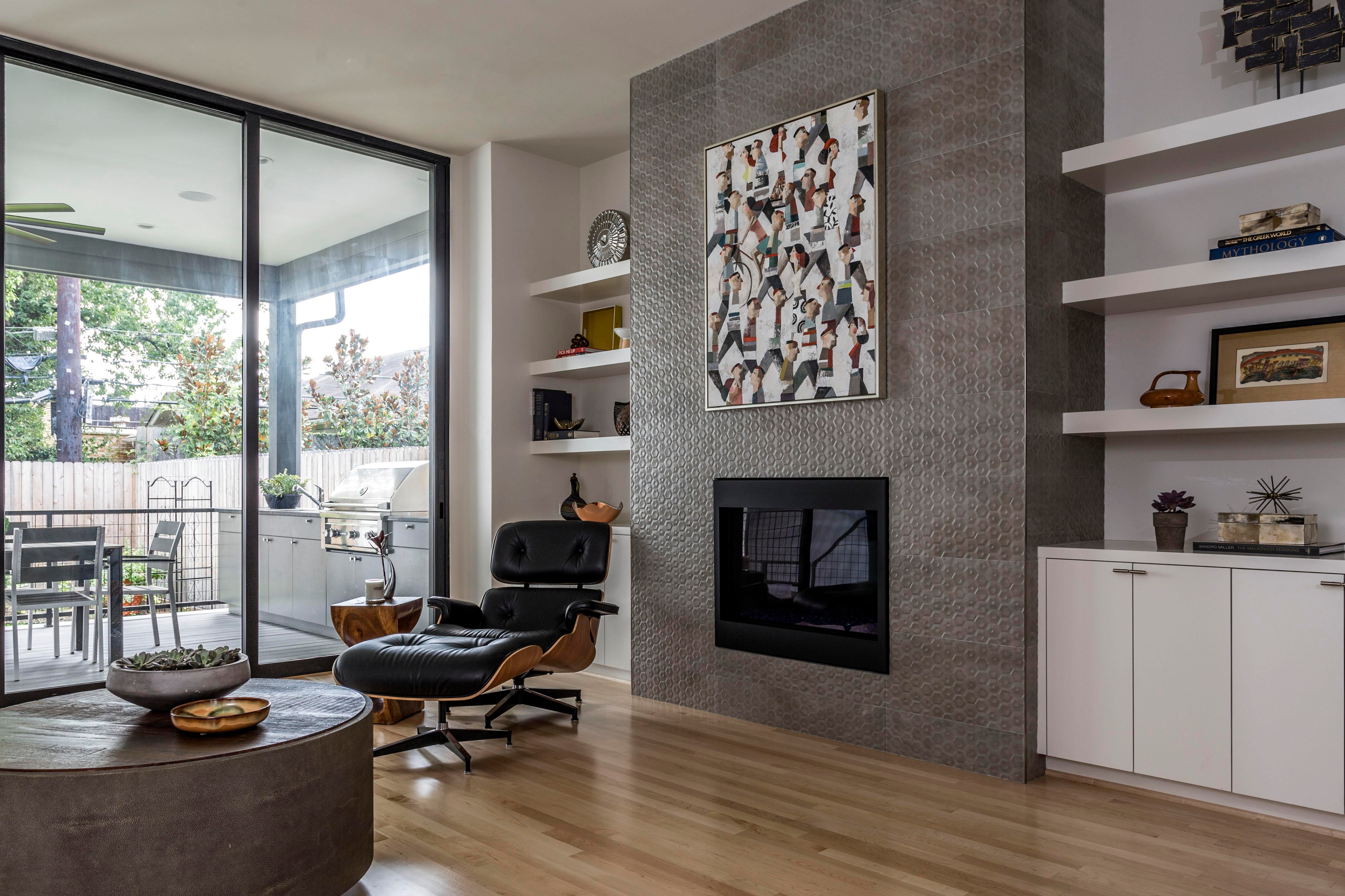 modern lounge chairs for living room two person swing chair with stand midtown houston mid century w fireplace eames
