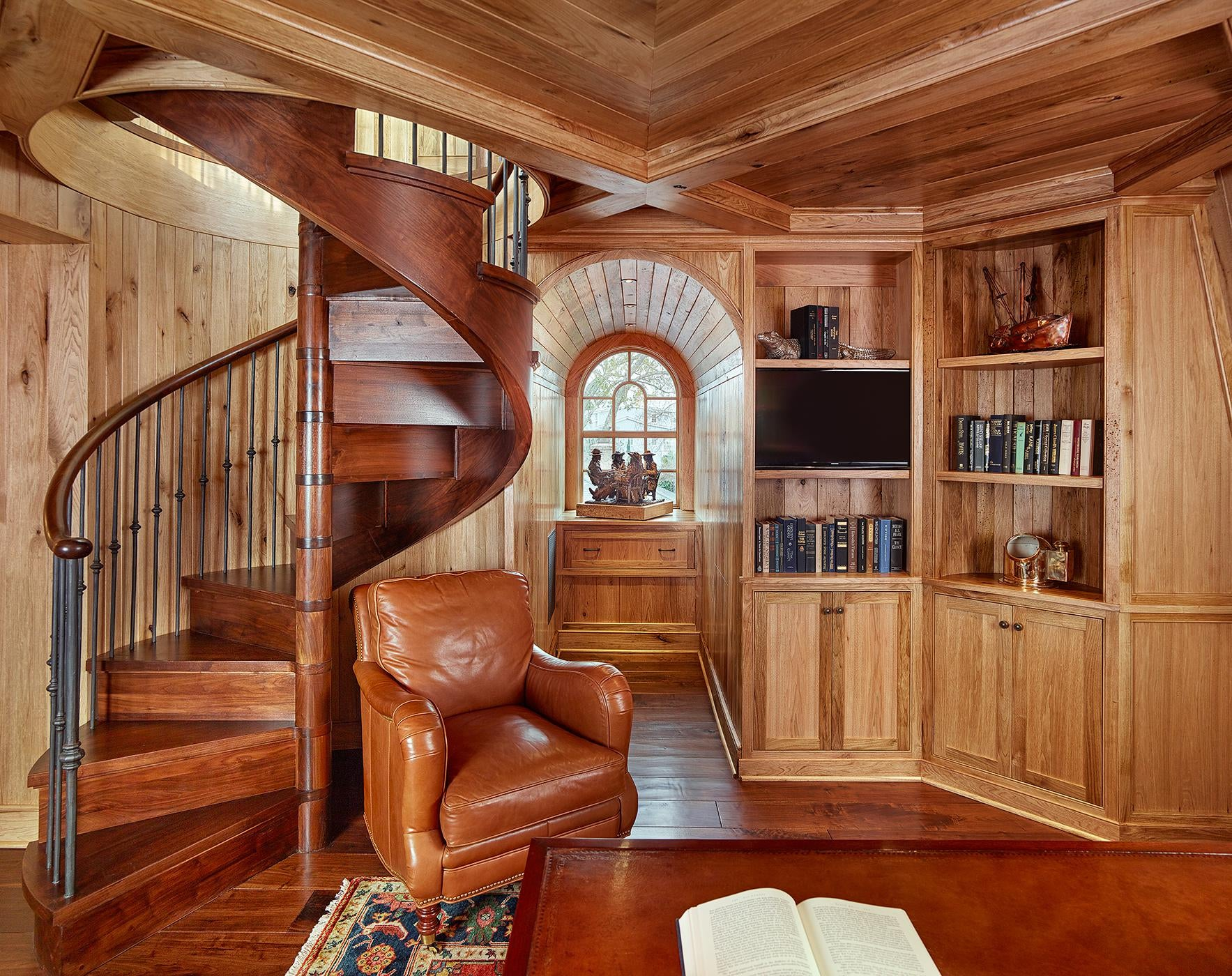 Butternut Wood Paneled Library with Wood Spiral Stair and