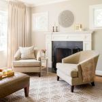 Geometric Rug Adds Contemporary Flare To Neutral Living Room