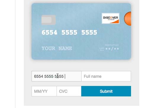 5 Free jQuery Credit Card Form Plugins and Validators | Designbeep