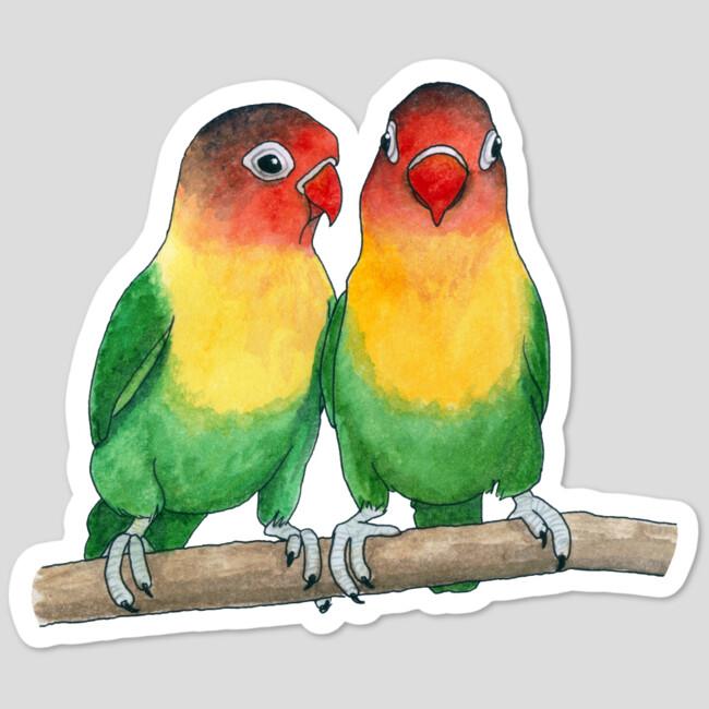 fischer s lovebirds sticker