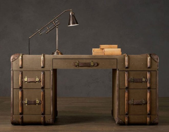 A Vintage English Steamer Trunk by Restoration Hardware