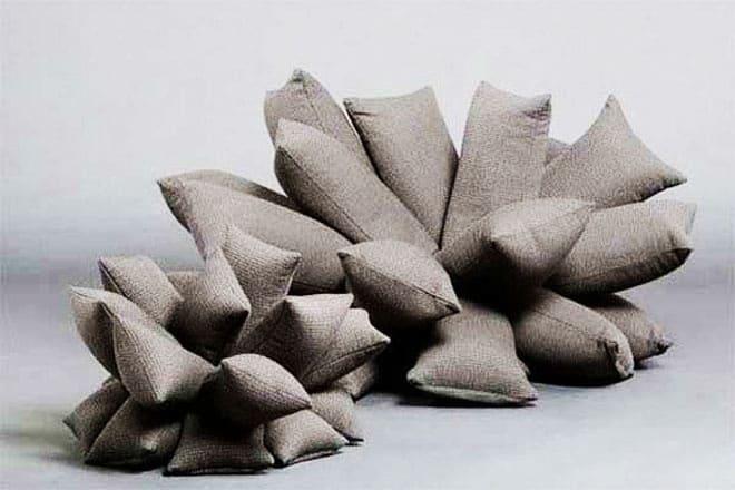 Many Big Pillows Together Became a Unique Furniture Sofa