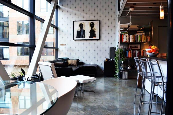 sofa into bed signature design by ashley commando black leather minimalist industrial interior for a 800 sq feet ...