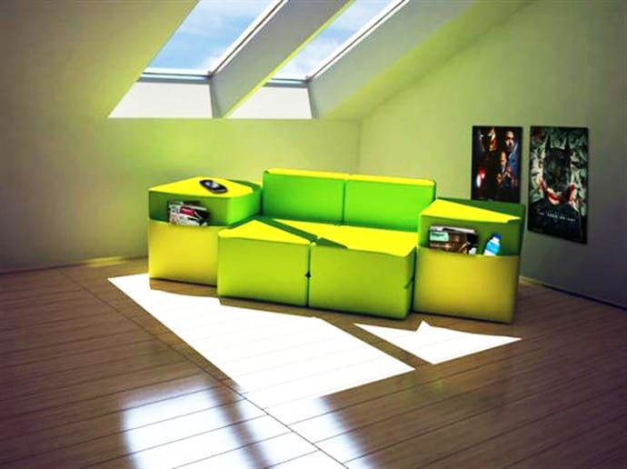transforming sofa bed timber set modular furniture multi purpose for small space room