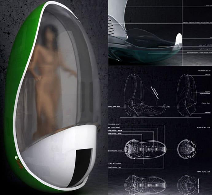 Futuristic Tulip Bathtub And Shower Unit By Piotr Pyrtek