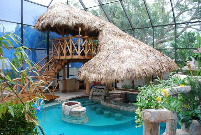 build your own outdoor kitchen island chairs for tiki hut - change pool into a tropical paradise!