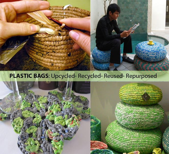 best fabric to cover kitchen chairs swivel joss and main 25 ideas of how recycle plastic bags on america recycles day