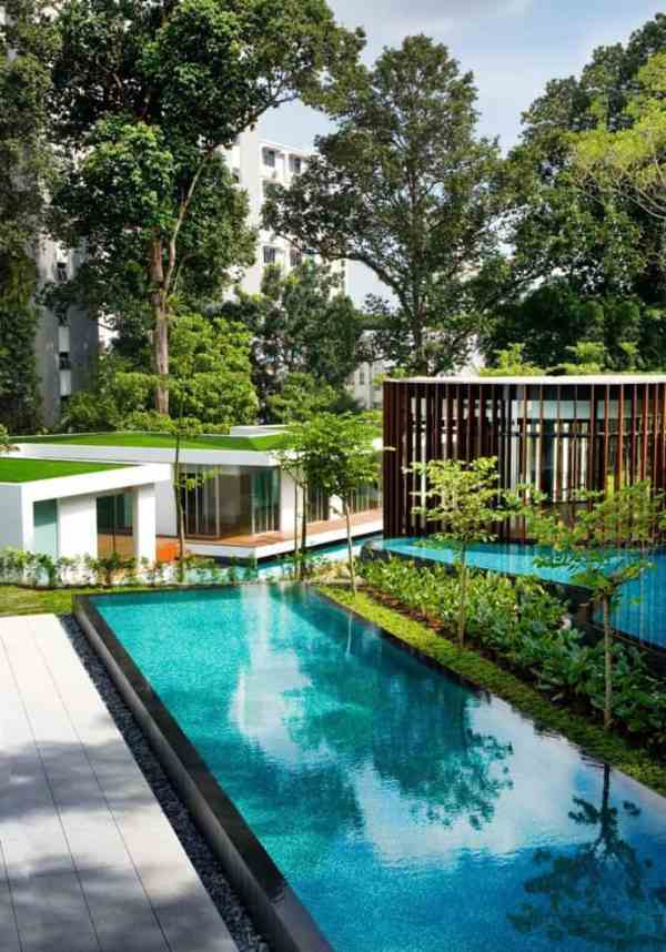 modern house with curvilinear pavilion