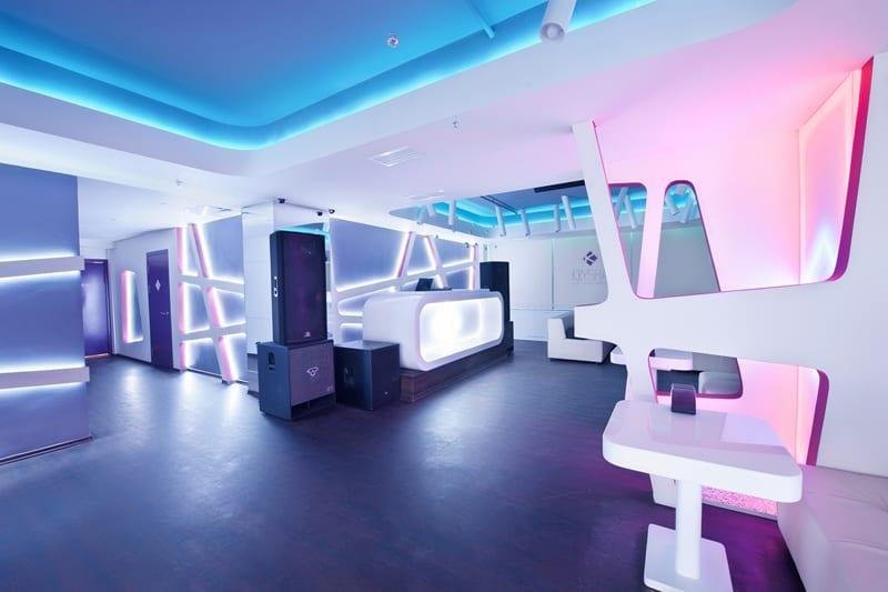 blue leather sofas corner sofa bed gumtree nottingham futuristic design: krysha cafe by grosu art studio