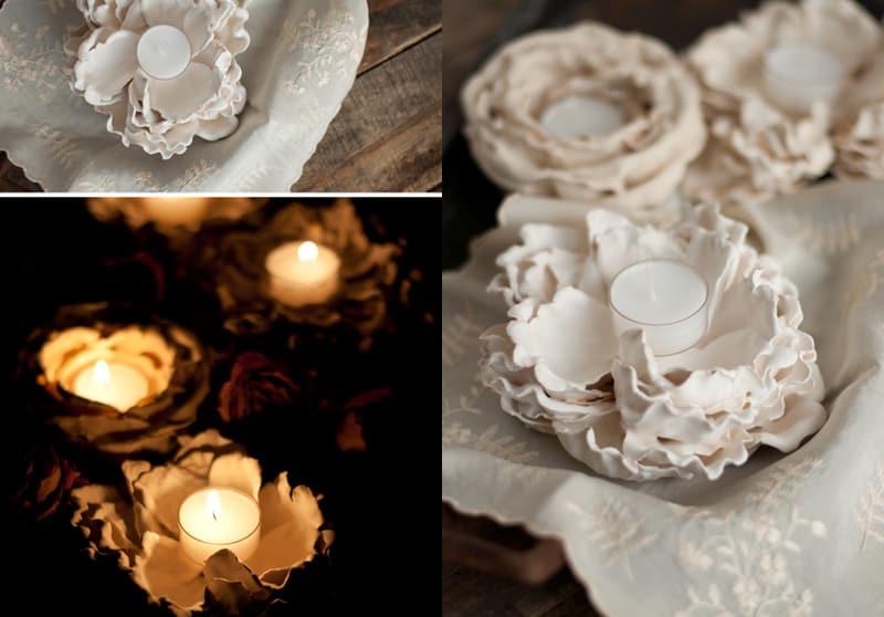 DIY Plaster Dipped Flower Votives