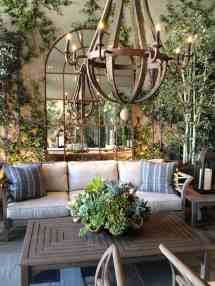 Outdoor Patio with a French Country Chandelier