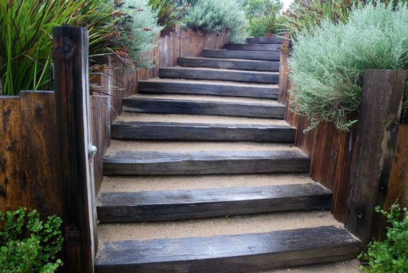 40 Ideas Of How To Design Exterior Stairways   Outdoor Wooden Steps Design   Exterior   Compact Space Outdoor   Railing   Rustic   Storage Underneath