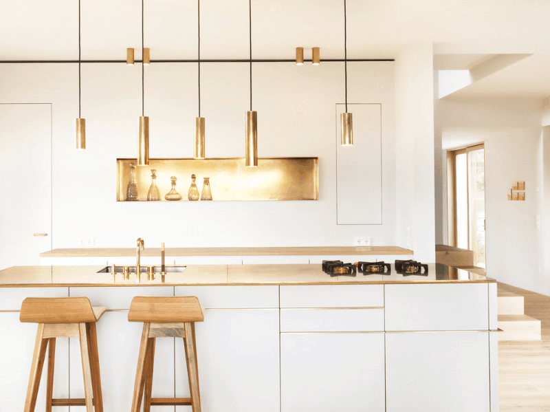 gold kitchen black stools 25 ways to use accents in the brass designrulz 10