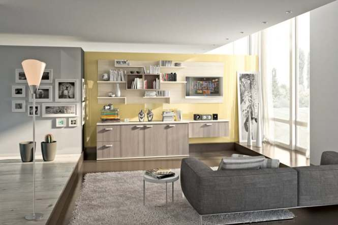 Contemporary Living Room Wall Unit Wooden Gl