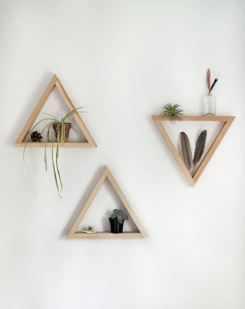 Wooden Triangle Shelves for Your Modern and Contemporary