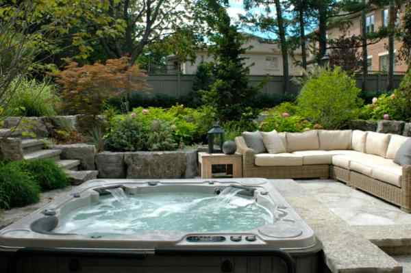 stunning garden hot tub design