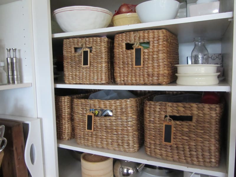 kitchen countertop storage outdoor countertops wicker baskets used as extra in the small spaces