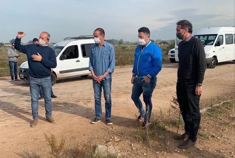 El ministro Katopodis y el intendente de Merlo, Menéndez, recorrieron la obra de la Autopista Presidente Perón